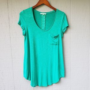 Pure + Good Anthro SS Long Tunic Pocket Top Teal M